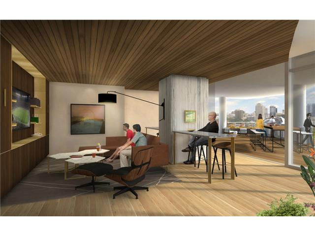 6th floor rendering of entertaining area with indoor/outdoor cap