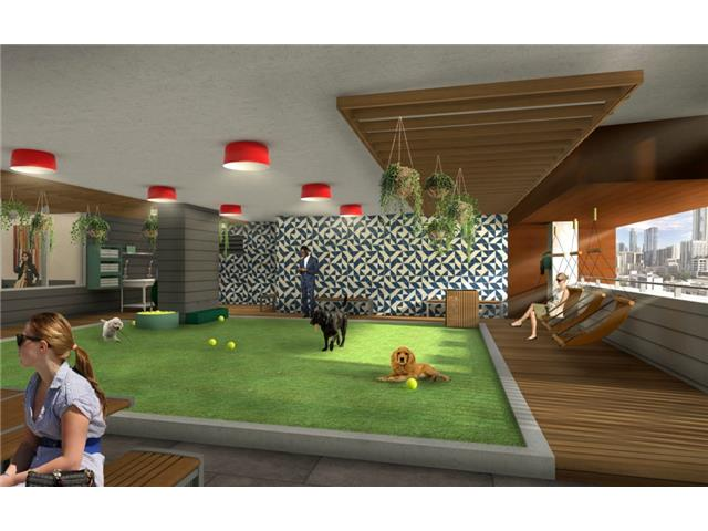 Rendering of 5th floor dog park and grooming facility.